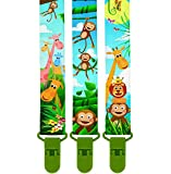 ** LIMITED PROMO ** 3 Pack Of Premium Pacifier Clip by KiddosArt, 2-Sided JUNGLE THEME Art, Stunningly Designed Pacifier Holder, Pacifier Leash, Baby Pacifier Clips for Girls and Boys.