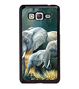 Fuson Premium 2D Back Case Cover Elephant pattern With White Background Degined For Samsung Galaxy Grand Prime G530h