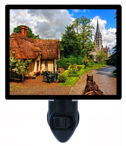 Irish Night Light - Ireland - Killarney - Horse And Carriage - Church Led Night Light