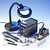 """""""X-TRONIC"""" #6040 - SMD - ESD SAFE - 2 in 1 Digital Hot Air Rework Soldering Iron Station - 3 HOT AIR TIPS - 10 SOLDERING TIPS - 1 EXTRA HEATING ELEMENT - 1 IC POPPER - 1 S/S PINPOINT TWEEZERS - 1 GOOT WICK - 1 5X MAGNIFYING LAMP!!!"""