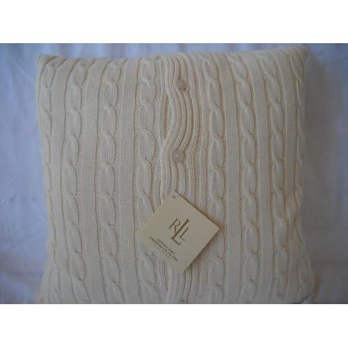 Amazon.com - Ralph Lauren Cable Knit Pillow, Cream - Throw Pillows