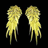 1Pair White Embroidered Angel Wings 15.8 6.2 inch (Gold L) (Color: red, Tamaño: Gold L)
