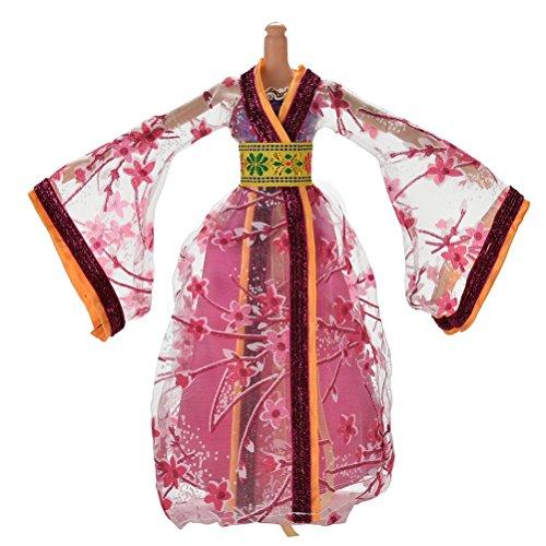 1pcs-Klassik-Schne-chinesischen-alten-Kleid-Costum-fr-Barbies-Puppe-Rose