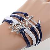 Acquista Bracciale infinito ancora timone pendenti argento nastro corda blu bianco portafortuna cordino regolabile stile marinaro