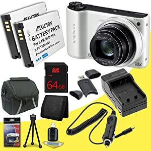 Samsung WB200F Smart Digital Camera (White) + Two SLB-10A Replacement Lithium Ion Battery + External Rapid Charger + 64GB SDHC Class 10 Memory Card + Carrying Case + SDHC Card USB Reader + Memory Card Wallet + Deluxe Starter Kit