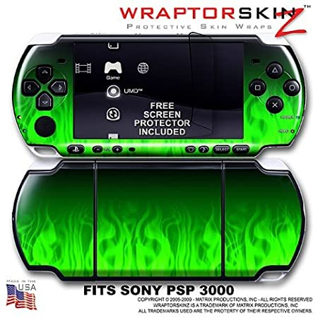 Fire Green WraptorSkinz Skin and Screen Protector Kit fits Sony PSP 3000