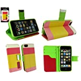 Emartbuy® Apple Iphone 5 5G 5S Luxury Desktop Stand Wallet Case Cover Pouch Blocks Pink / Yellow / White With...
