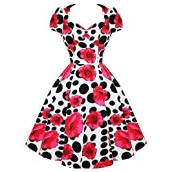 Ladies Womens Floral Polka Dot 50s Vintage Rockabilly Swing Party Prom Dress