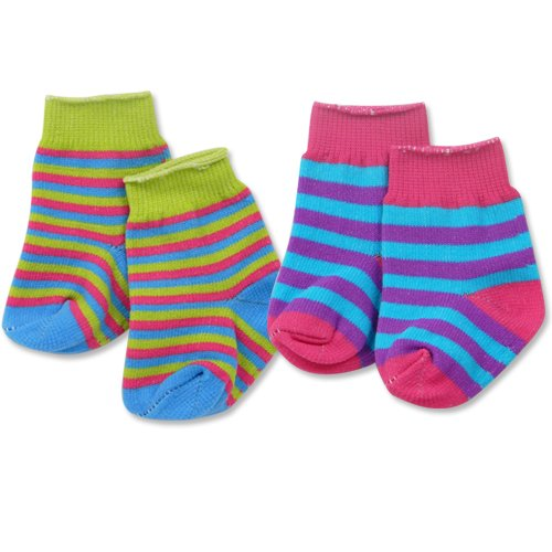 18 Inch Doll Socks, 2 Pair Set Fits American Girl Doll Clothes & More, by Sophia's, Multi Color Striped Knee High Socks for 18 Inch Dolls