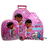 Doc MCstuffins 4pc Set Wheeled Bag Set include Wallet Backpack Trainer Bag