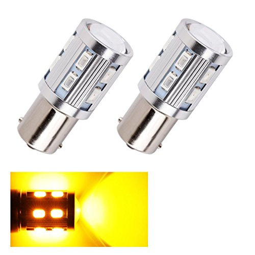 ToAUTO 2 X 1156 BA15S Turn Reverse Signal Bulbs 12 SMD Samsung 5730 Cree led High Power lamp p21w R5W Car LED bulbs rear brake Lights Source parking 12V Amber Yellow (Reverse Bulb Adapter compare prices)