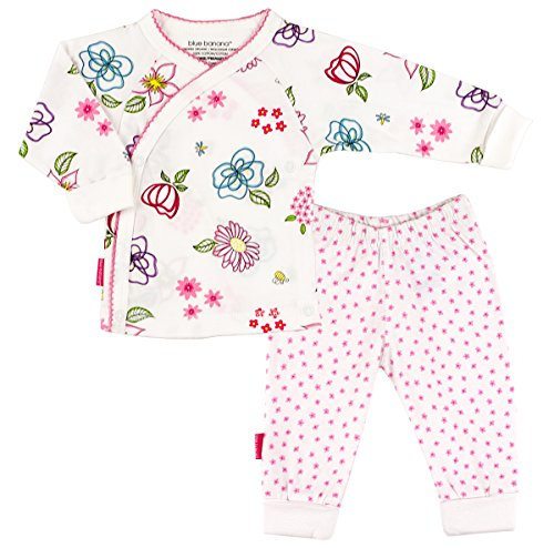 Kushies Garden Party 2PC Side Snap Top and Pant Set (Newborn, Flower Print)