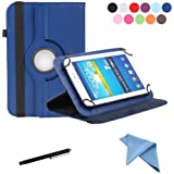 EEEKit 3-in-1 Starter Kit for Universal Epad Lenovo Tab 2 A7 7-Inch HP Stream 7 Coby Kyros MID 7034 7036 7048 Zeki 7 Inch Tablet , Portable Rotating Stand Cover Case + Touch Screen Stylus Pen + Cleaning Cloth (Dark Blue)