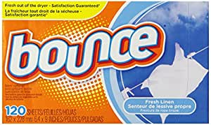 Bounce Fresh Linen Fabric Softener Sheets 120 Count (Pack of 3)