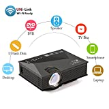 Uvistar Wireless Home Cinema Multimedia Projector Mini Portable LCD LED Projection with USB/SD/AV/HDMI/VGA Support 1080p 1000+ Lumens IP/IR/USB/SD/HDMI/VGA