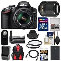 Nikon D3200 Digital SLR Camera & 18-55mm G VR DX AF-S Zoom Lens (Black) with 55-200mm VR II Lens + 32GB Card + Case + Battery & Charger + Grip + HDMI Cable + Filters Kit