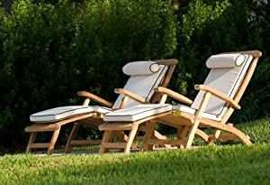 Barbuda Captain Steamer Teak Lounge Chair With Canvas Color Cushion