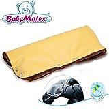 Calentador de invierno para cochecito de bebé Cochecito Ecopiel mano de peluche (Abrigo Guantes sin dedos 05.Yellow/Brown