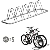 5 Bike Bicycle Floor Parking Rack Storage Stand