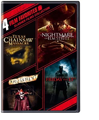 4 Film Favorites: Slasher Films (The Texas Chainsaw Massacre, Nightmare on Elm Street (2010), Friday the 13th (2009), Amusement)