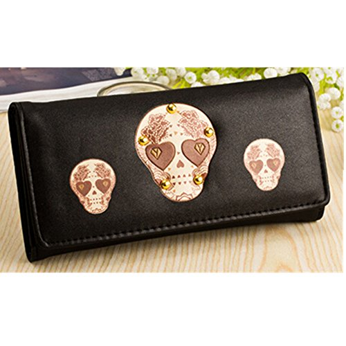 Why Choose EVTECH(TM) Skull Series Multifunctional Coin Purse Wrist Bag Handbag Envelope Wallet Pouc...