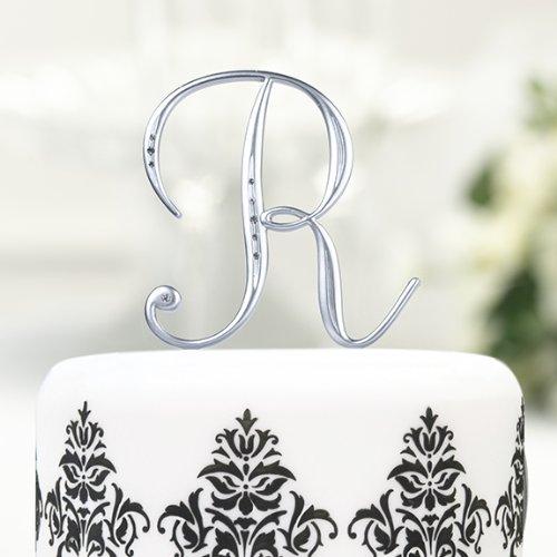 Silver Rhinestone Monogram Cake Topper - Letter B front-1035206