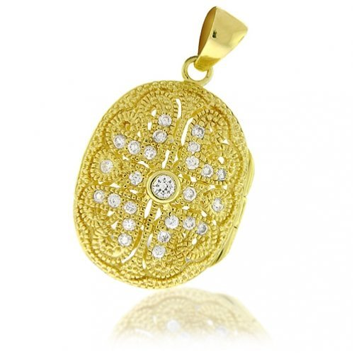 Bling Jewelry 14K Gold Vermeil CZ Pave Antique Oval Locket Pendant