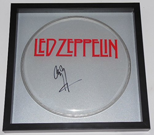 Jimmy Page Led Zeppelin Zoso Signed Autographed Drum Drumhead Framed Loa