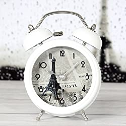 iCasso 3 Eiffel Tower Quiet Non-ticking Silent Quartz Analog Metal Twin Double Bell Alarm Clock With Loud Alarm and Nightlight with 4pcs iCasso Cable Ties