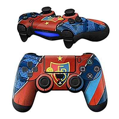 Mod Freakz PS4 Controller Pair of Vinyl Decal Skins Red and Blue Striped Soccer