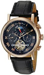 Lucien Piccard Men's 'Ottoman' Japanese Automatic Stainless Steel and Leather Casual Watch, Color:Black (Model: LP-40012A-RG-01)