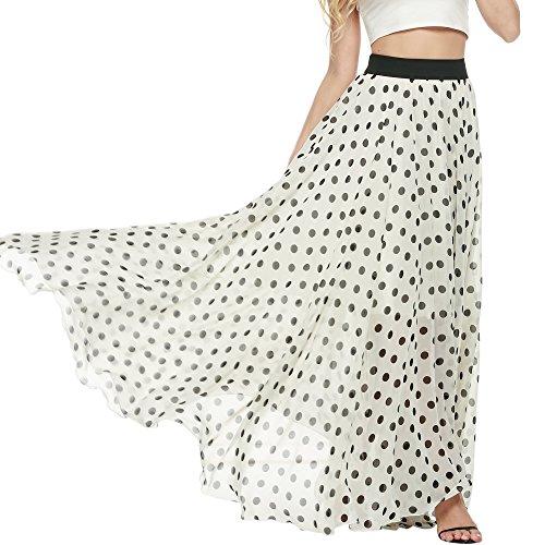 Meaneor Women's White Black Contrast Polka Dot Print Maxi Skater Skirt (Black White,M)