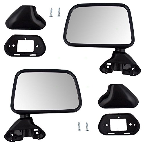 Driver and Passenger Manual Side View Door Mounted Textured Mirrors Replacement for Toyota Pickup Truck w/ vent window 8794089141 8791089143 (Toyota Pickup Truck compare prices)