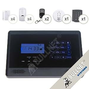 Alarme de Maison GSM Noire avec Ecran LCD et Clavier Lumineux
