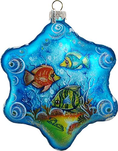 """Exotic Sea Fish 6"""" Led Light Glass Starflake; Handcrafted Old World Christmas Gallery Collection For The Tree."""