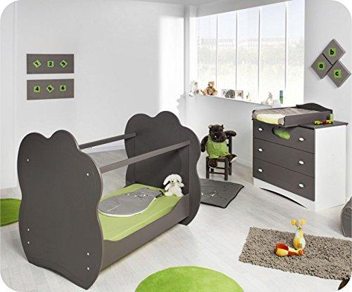 Mini Babyzimmer Altea weiß taupe mit Wickelfläche