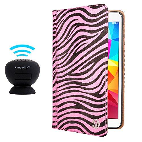 Vangoddy Mary Portfolio Wild Pink White Zebra Multi Purpose Book Style Slim Flip Cover Case For Samsung Galaxy Tab 4 8.0' Android + Black Microphone Mini Suction Bluetooth Speaker