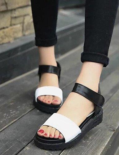 zapatos-de-mujer-tacon-plano-comfort-sandalias-vestido-semicuero-negro-blanco-plata-black-us75-eu38-