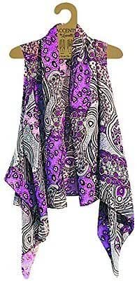 Accents by Lavello Sheer Designer Vest, Purple / Gray, Mixed Print PUM