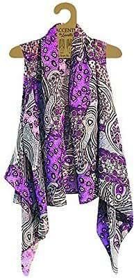 Accents by Lavello Sheer Designer Vest, Purple / Gray