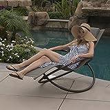 Belleze Orbital Folding Zero Lounger Chair Outdoor Patio Pool Beach Yard Steel Frame (Brown)