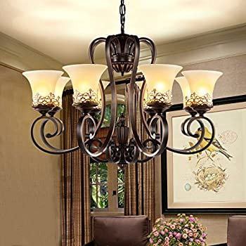 LightInTheBox Island Country Vintage Style 8 Lights Chandeliers LED Flush Mount Painting Lighting Fixture Lamp for Living Room / Bedroom / Dining Room