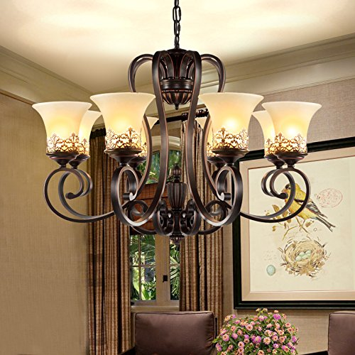 LightInTheBox Island Country Vintage Style 8 Lights Chandeliers LED Flush Mount Painting Lighting Fixture Lamp for Living Room / Bedroom / Dining Room 1