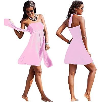 HuntGold Women Lady Sexy Push-up Wrapped Chest Swimming Dress Skirt Swimwear Swimsuit Pink(Size: XL)