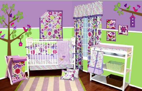 Botanical Purple 10 pc Crib Bedding Set