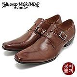 Bump N' GRIND/バンプアンドグラインド ロングノーズ・クロスモンクストラップ・本革ビジネスシューズ 4001 ブラウンレザー スクエアトゥ/チゼルトゥ/ドレス/紐靴/革靴/仕事用/メンズ 42/26.0-26.5,Brown