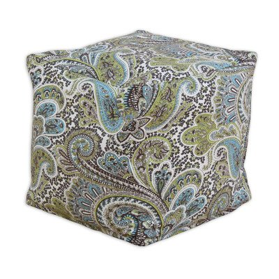 Chooty & Co Paisley Ke Zippered Beads Footstool, 12.5 By 12.5-Inch, Chocolate front-965375