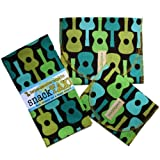 SnackTaxi Reusable Sandwich-sack Bag, Snack-sack Bag and Twice-as-nice Napkin Groovy Guitar Lime Set.