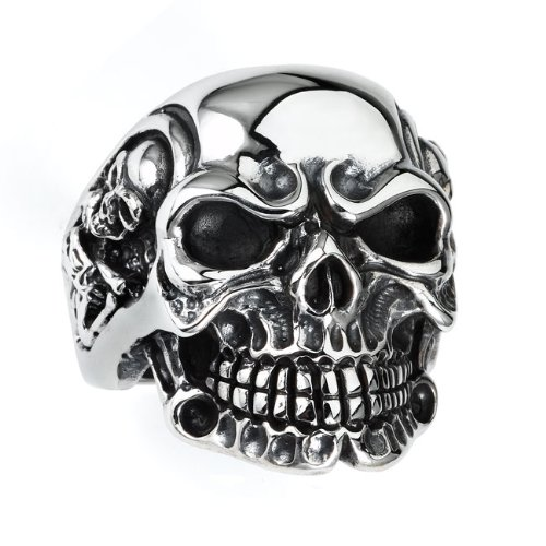 Sterling Silver Skull Ring with skeletons on the sides size15