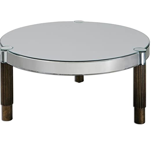 Contemporary Round Mirrored Glass Coffee Table